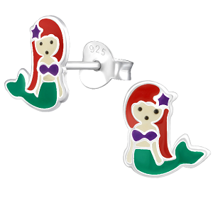 Sterling Silver Mermaid Ariel Earrings