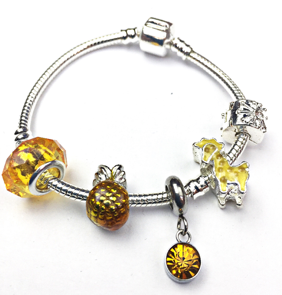 Children's 'November Birthstone' Yellow Topaz Coloured Crystal Silver Plated Charm Bead Bracelet
