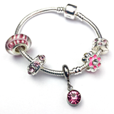 Children's 'October Birthstone' Rose Coloured Crystal Silver Plated Charm Bead Bracelet