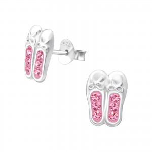 Sterling silver pink diamante ballet shoes earrings