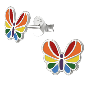 Children's Sterling Silver Rainbow Butterfly Stud Earrings