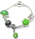 Children's 'August Birthstone' Peridot Coloured Crystal Silver Plated Charm Bead Bracelet