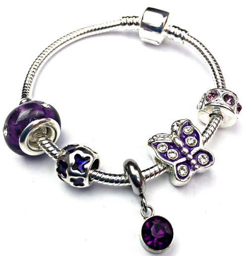 Children's 'February Birthstone' Amethyst Coloured Crystal Silver Plated Charm Bead Bracelet