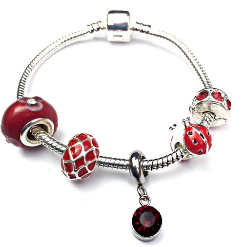 Children's 'July Birthstone' Ruby Coloured Crystal Silver Plated Charm Bead Bracelet