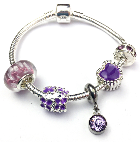 Children's Big Sister 'Purple Fairy Dream' Silver Plated Charm Bead Bracelet