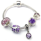 Children's 'June Birthstone' Amethyst Coloured Crystal Silver Plated Charm Bead Bracelet