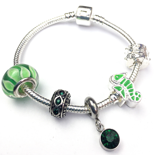 Children's 'May Birthstone' Emerald Coloured Crystal Silver Plated Charm Bead Bracelet