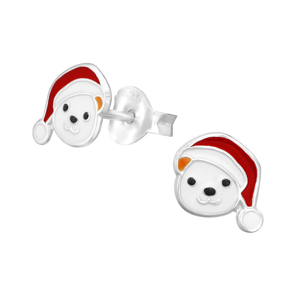 Children's Sterling Silver Christmas Teddy Bear Stud Earrings