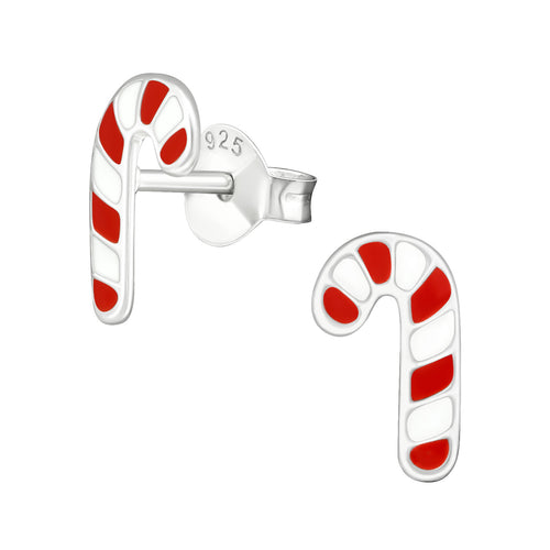 Children's Sterling Silver Christmas Candy Cane Stud Earrings
