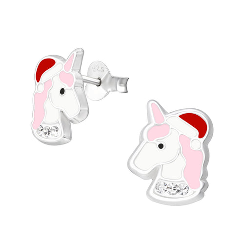 Children's Sterling Silver Christmas Unicorn Stud Earrings