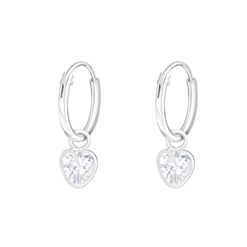 Children's Sterling Silver 'Crystal Heart' Hoop Earrings