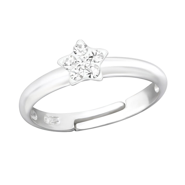 Children's Sterling Silver Adjustable Clear Diamante Star Ring
