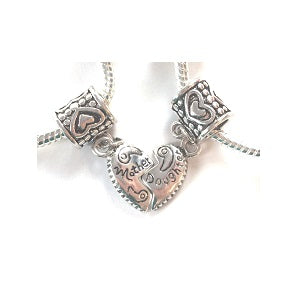 Adult's 'Mother Half Heart Pink Sparkle' Silver Plated Charm Bracelet