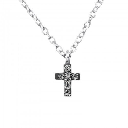 Children's Sterling Silver Black Diamond Crystal Cross Necklace