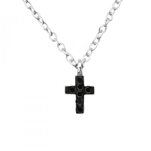 Children's Sterling Silver Jet Black Crystal Cross Necklace
