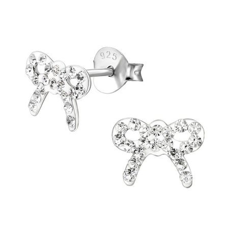 Children's Sterling Silver Crystal Teddy Bear Stud Earrings