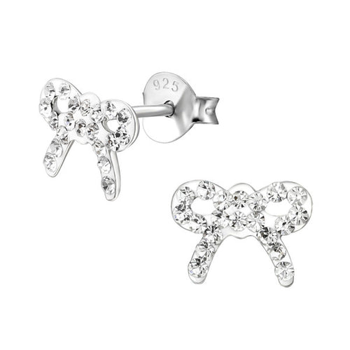 Children's Sterling Silver Crystal Ribbon Stud Earrings