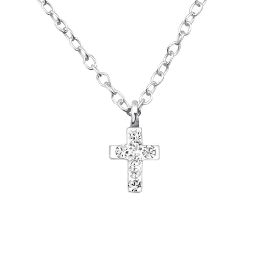 Children's Sterling Silver Crystal Cross Necklace