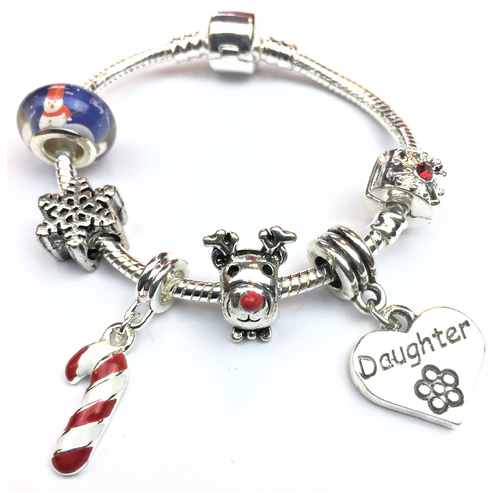 Children's Daughter 'Christmas Wishes' Silver Plated Charm Bracelet