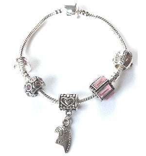 Teenager's 'Daughter Half Heart Pink Sparkle' Silver Plated Charm Bracelet