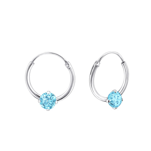 Children's Sterling Silver 'December Birthstone' Hoop Earrings