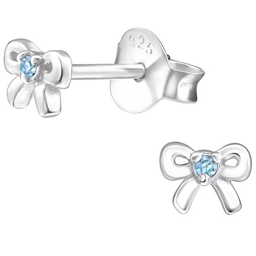 Children's Sterling Silver 'December Birthstone' Bow Stud Earrings