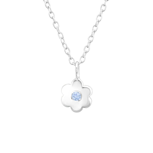 December Birthstone necklace sterling silver blue topaz