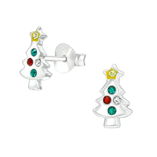 Children's Sterling Silver Diamante Christmas Tree Stud Earrings
