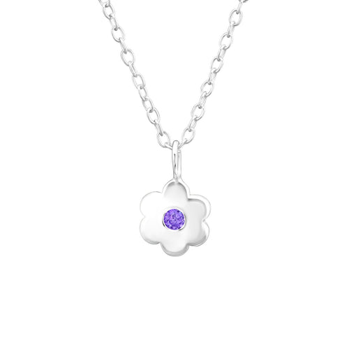Februaly Birthstone Purple Amethyst Sterling Silver Necklace