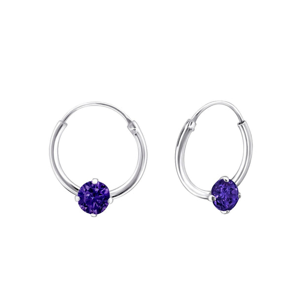 Children's Sterling Silver 'February Birthstone' Hoop Earrings