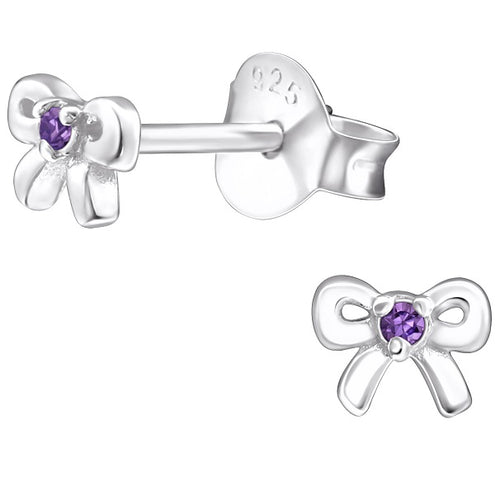 Children's Sterling Silver 'February Birthstone' Bow Stud Earrings