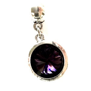 February Birthstone Amethyst Coloured Crystal Drop Charm