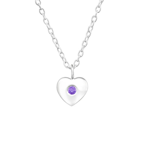 Children's Sterling Silver 'February Birthstone' Heart Necklace