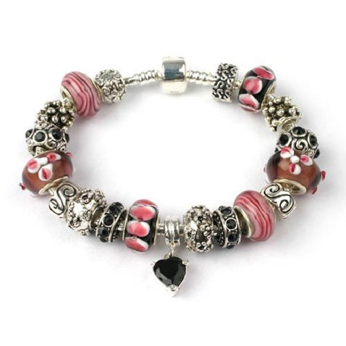 Adult's 'Flamenco' Silver Plated Charm Bead Bracelet