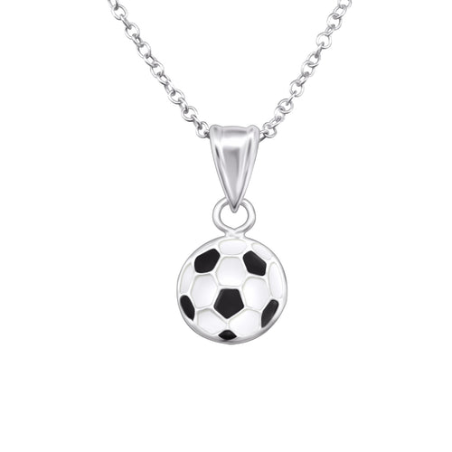 Children's Sterling Silver Football Pendant Necklace
