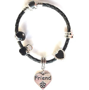 Children's Friend 'Simply Black' Silver Plated Black Leather Charm Bead Bracelet