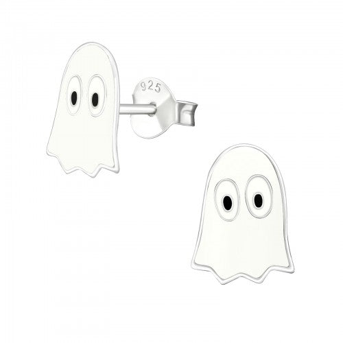 Children's Sterling Silver Halloween 'Ghoulish Ghost' Stud Earrings