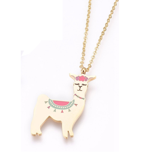 Children's Gold Coloured Llama Pendant Necklace