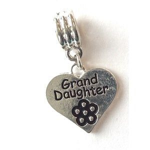 Silver Plated Grand Daughter Heart Drop Charm