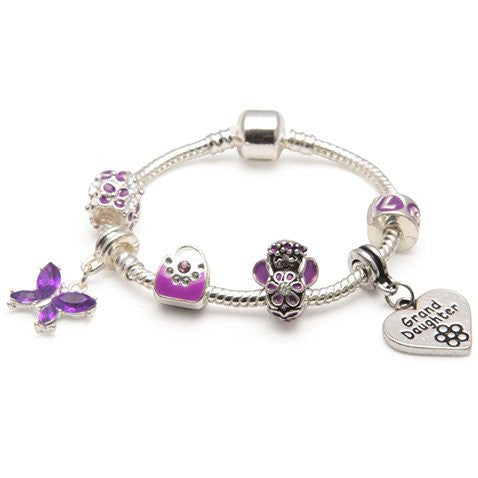 Children's Granddaughter 'Purple Fairy Dream' Silver Plated Charm Bead Bracelet