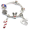 Children's Granddaughter 'Christmas Wishes' Silver Plated Charm Bracelet