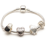 Grandma 'Pearl Lady' Silver Plated Charm Bead Bracelet