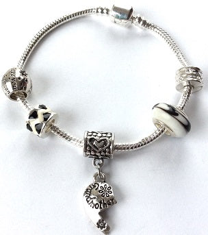 Adult's 'Grandmother Half Heart Love Always' Silver Plated Charm Bracelet