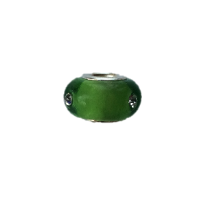 'Green Diamante' Bead With Silver Plated Core