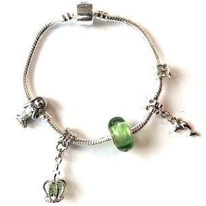 Children's Green 'Fairytale Mermaid' Silver Plated Charm Bead Bracelet