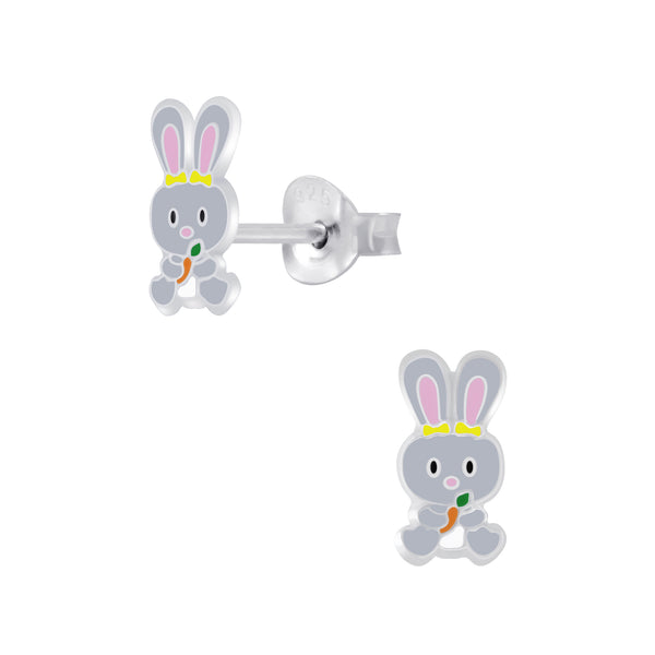 Children's Sterling Silver 'Grey Easter Bunny' Stud Earrings
