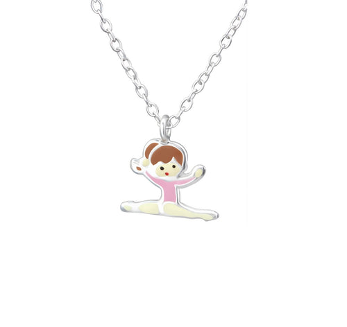 Children's Sterling Silver Gymnastics Girl Pendant Necklace