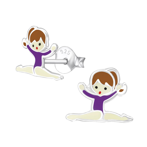 Children's Sterling Silver Gymnastics Girl with Purple Leotard Stud Earrings