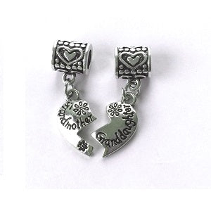 Grandmother and Granddaughter Split Heart Pendant Drop Charms