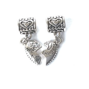 Mother and Daughter Split Heart Pendant Drop Charms